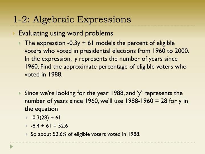 1-2: Algebraic Expressions