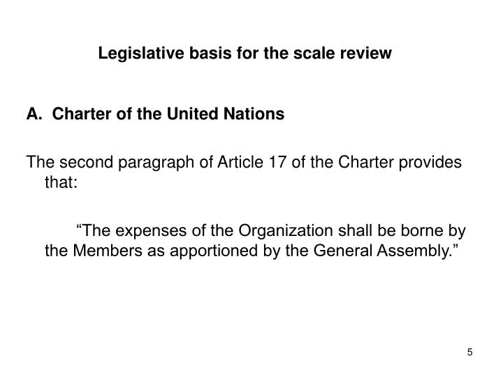 Legislative basis for the scale review