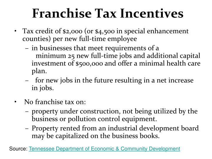 Franchise Tax Incentives