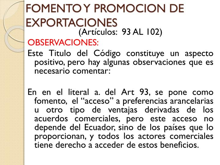 FOMENTO Y PROMOCION DE EXPORTACIONES
