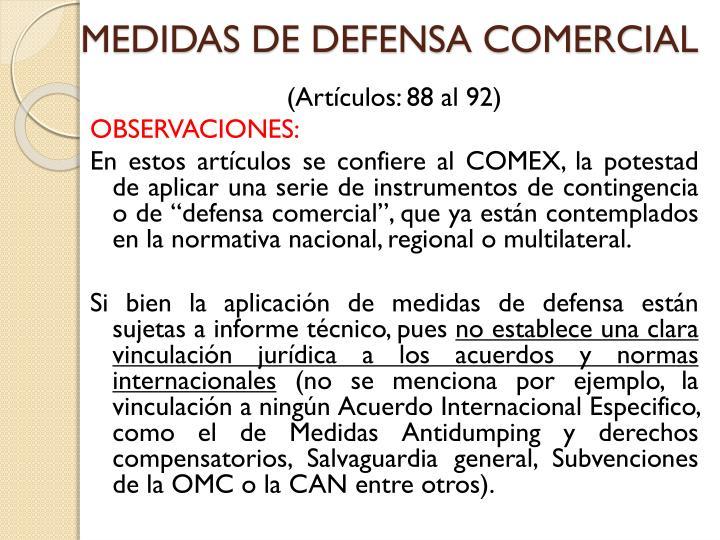 MEDIDAS DE DEFENSA COMERCIAL