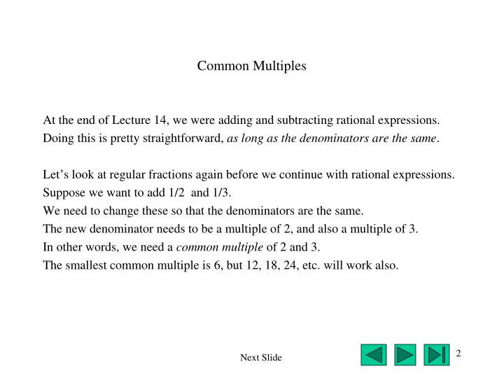 Common Multiples