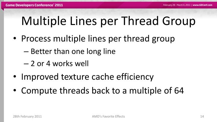 Multiple Lines per Thread Group