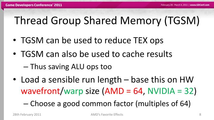 Thread Group Shared Memory (TGSM)