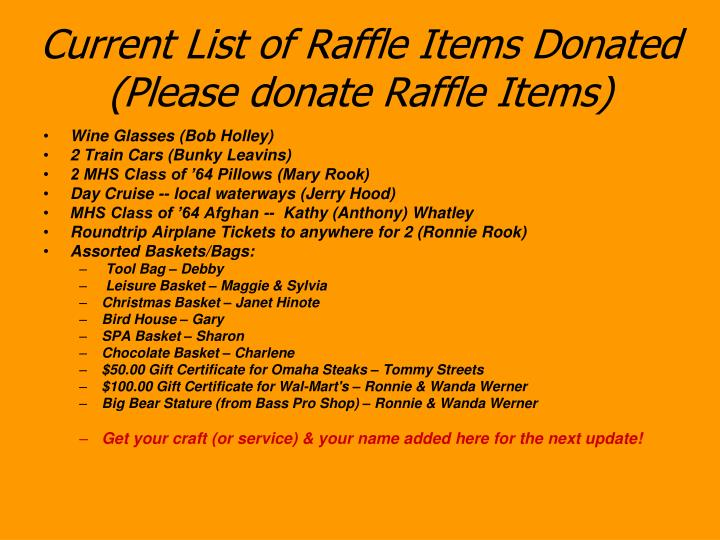 Current list of raffle items donated please donate raffle items