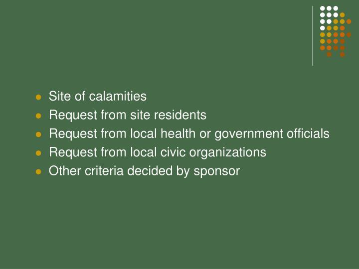 Site of calamities