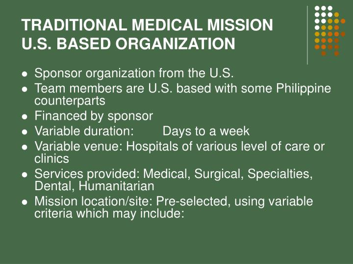 TRADITIONAL MEDICAL MISSION