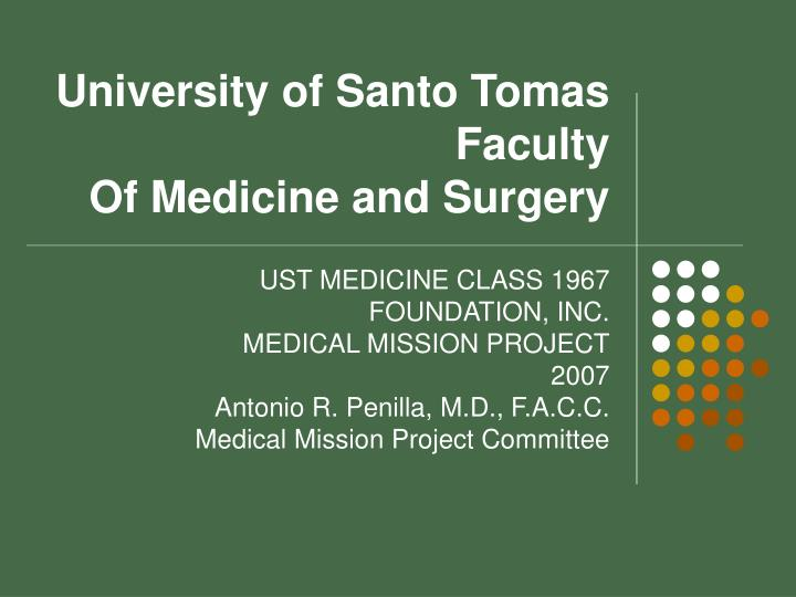 University of santo tomas faculty of medicine and surgery