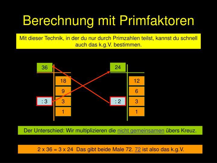 Berechnung mit Primfaktoren