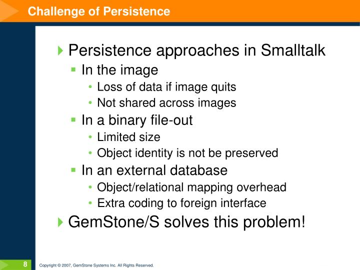 Challenge of Persistence