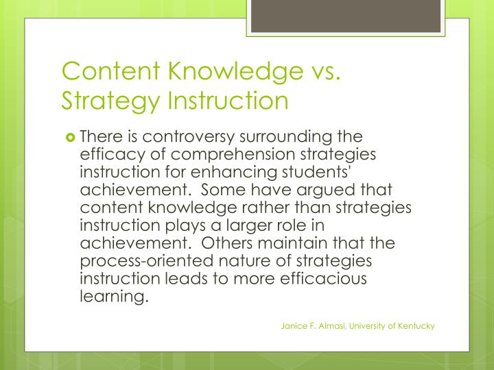 Content Knowledge vs. Strategy Instruction
