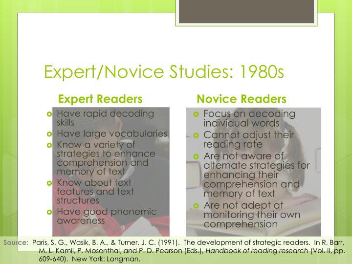 Expert/Novice Studies: 1980s