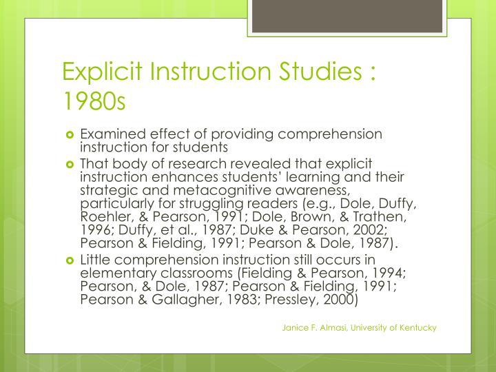 Explicit Instruction Studies : 1980s