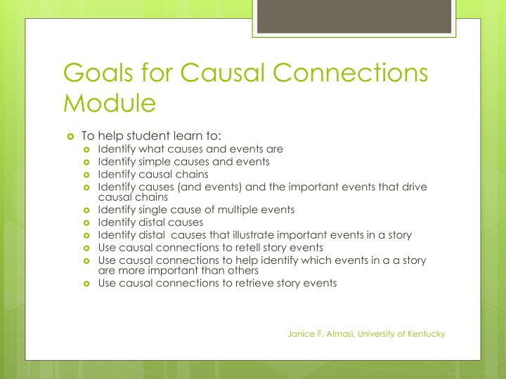 Goals for Causal Connections Module