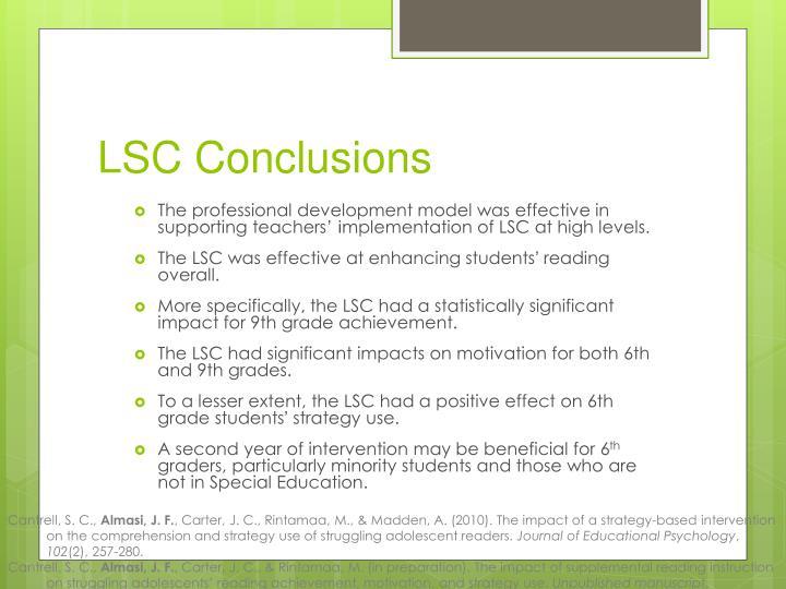 LSC Conclusions
