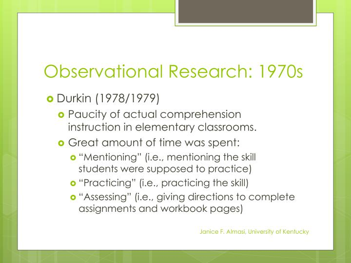 Observational Research: 1970s