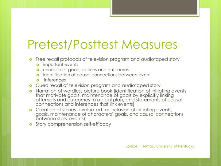 Pretest/Posttest Measures