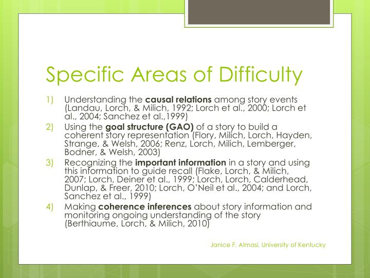 Specific Areas of Difficulty