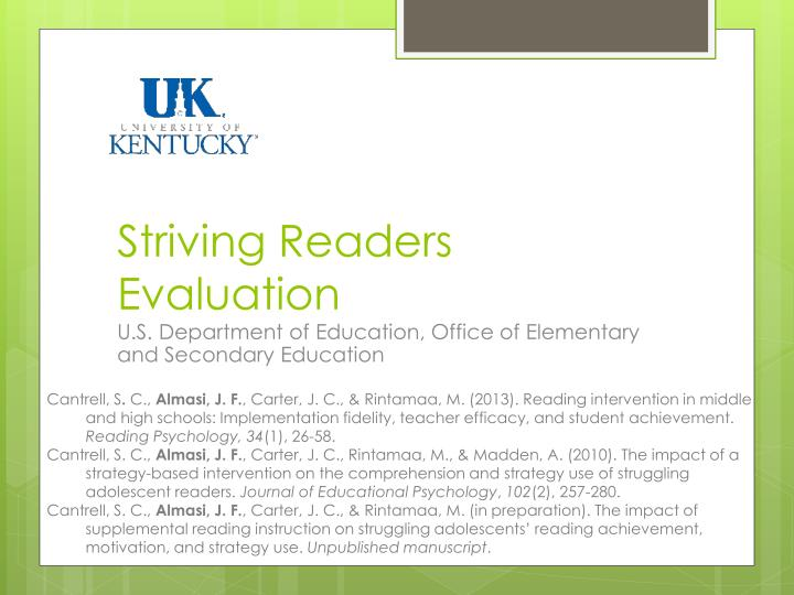 Striving Readers Evaluation