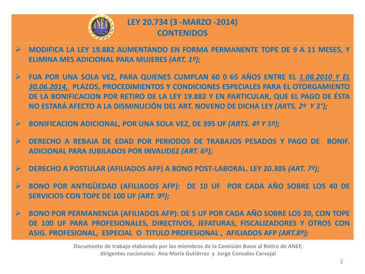 LEY 20.734 (3 -MARZO -2014)