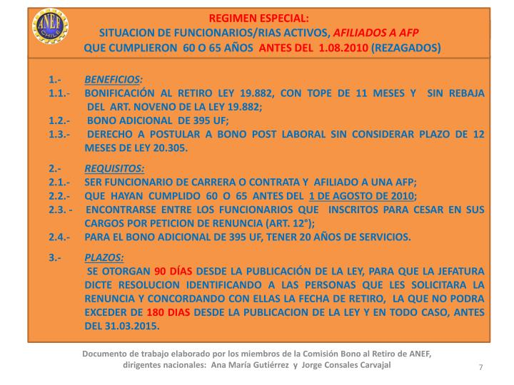 REGIMEN ESPECIAL: