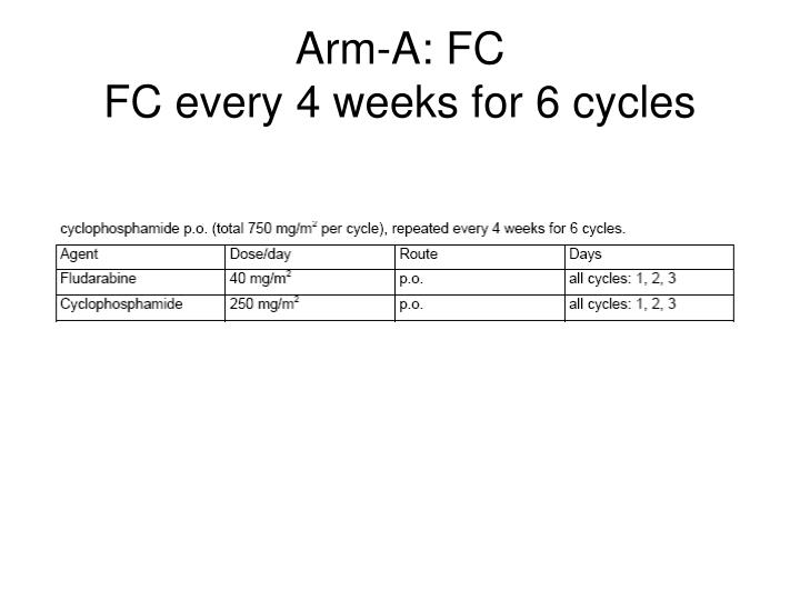 Arm a fc fc every 4 weeks for 6 cycles