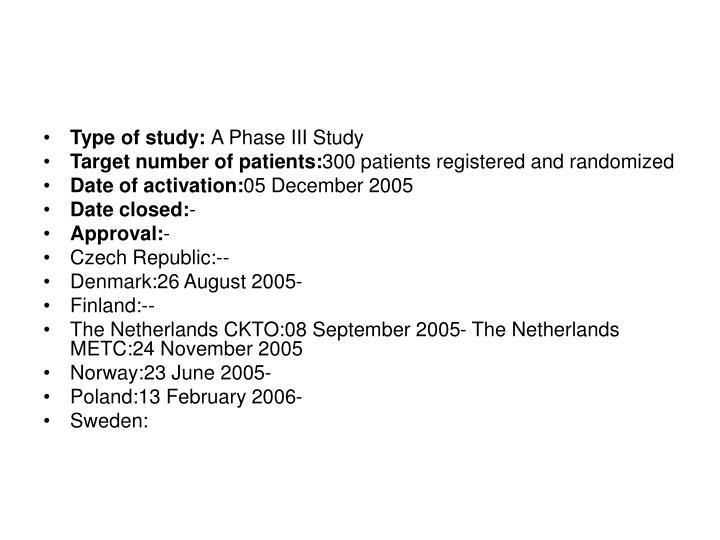 Type of study: