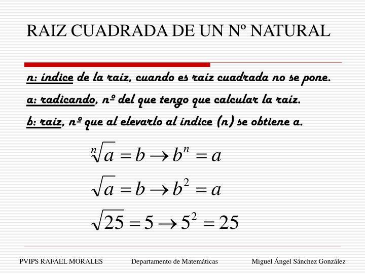 RAIZ CUADRADA DE UN Nº NATURAL