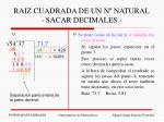raiz cuadrada de un n natural sacar decimales