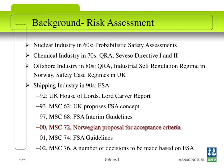Background risk assessment