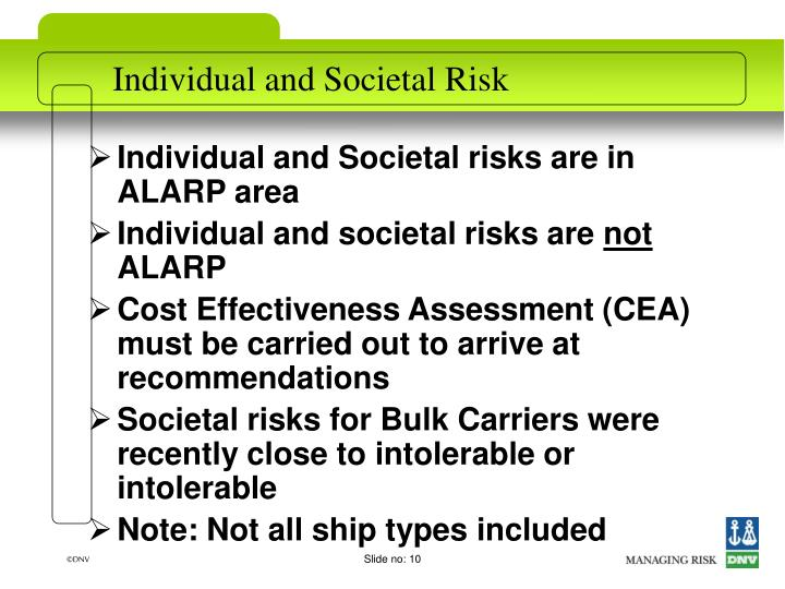 Individual and Societal risks are in ALARP area