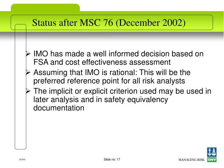 Status after MSC 76 (December 2002)
