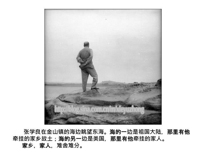 张学良在金山镇的海边眺望东海。海的一边是祖国大陆,那里有他牵挂的家乡故土;海的另一边是美国,那里有他牵挂的家人。
