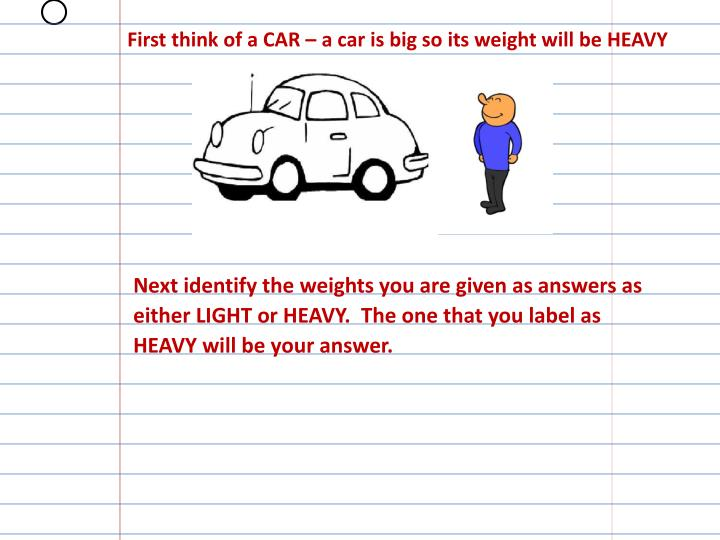 First think of a CAR – a car is big so its weight will