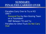 summary penalties carried over
