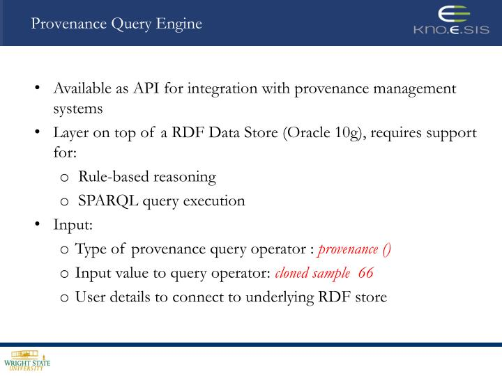 Provenance Query Engine