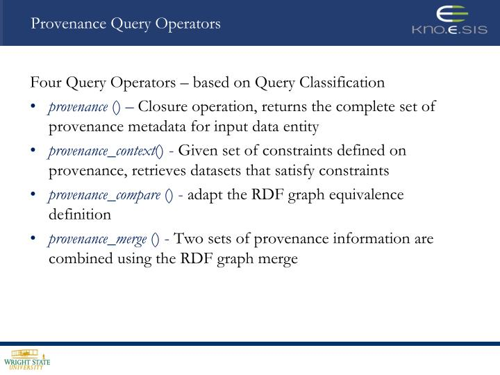 Provenance Query Operators