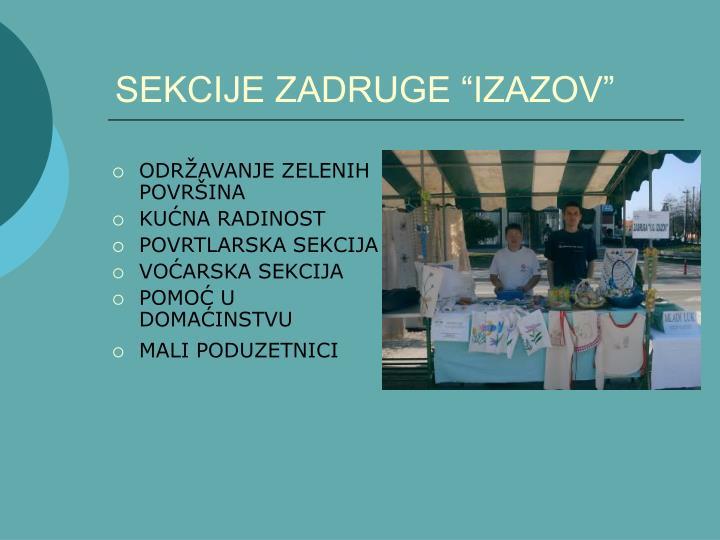 """SEKCIJE ZADRUGE """"IZAZOV"""""""