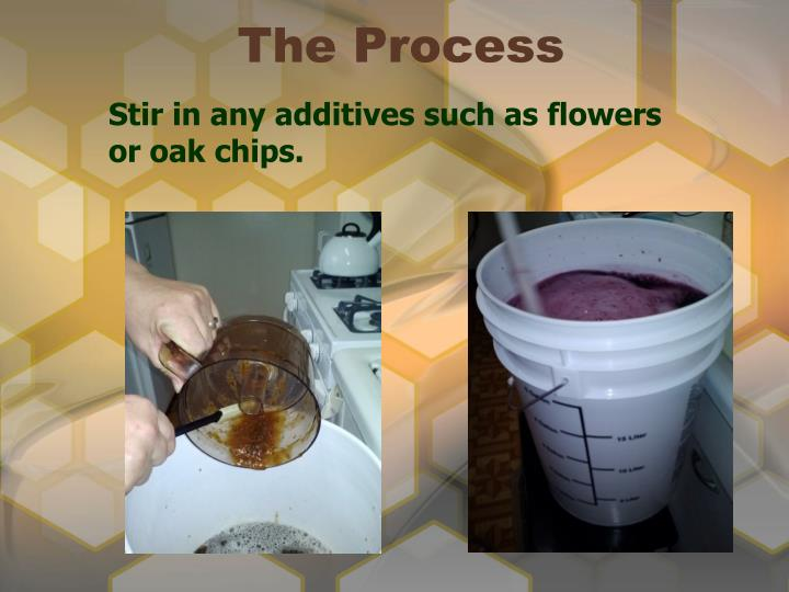 Stir in any additives such as flowers or oak