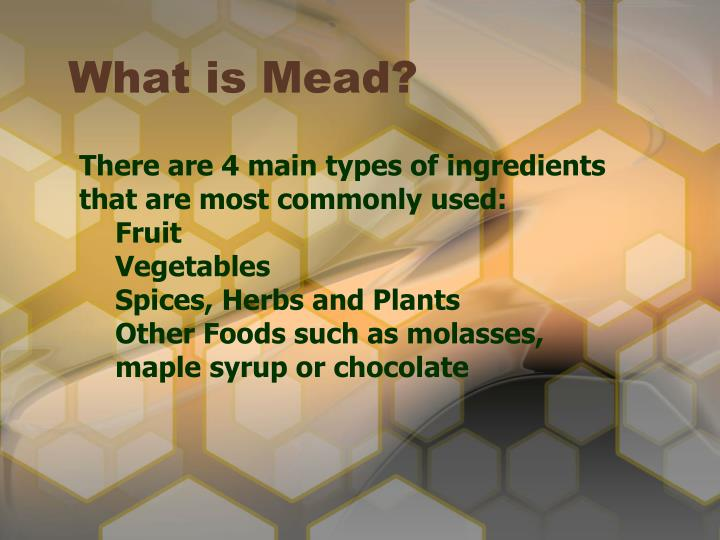 There are 4 main types of ingredients that are most commonly used: