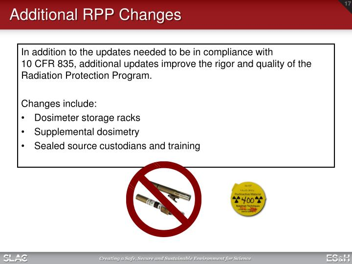 Additional RPP Changes