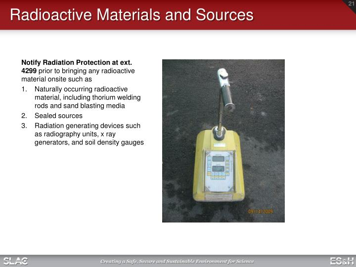 Radioactive Materials and Sources
