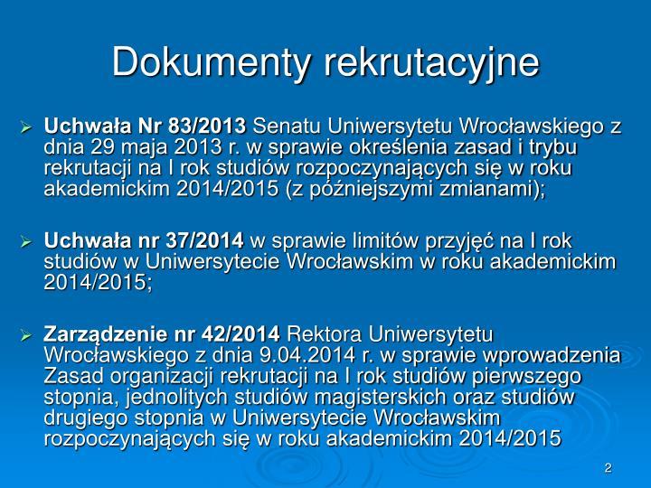 Dokumenty rekrutacyjne