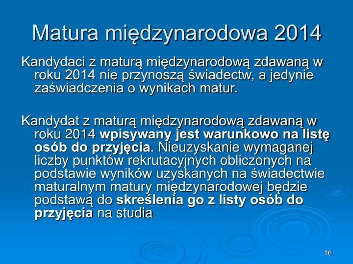 Matura międzynarodowa 2014