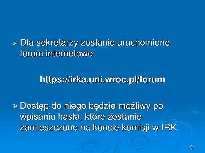 Dla sekretarzy zostanie uruchomione forum internetowe