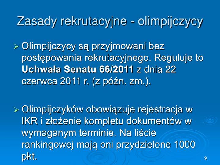 Zasady rekrutacyjne - olimpijczycy