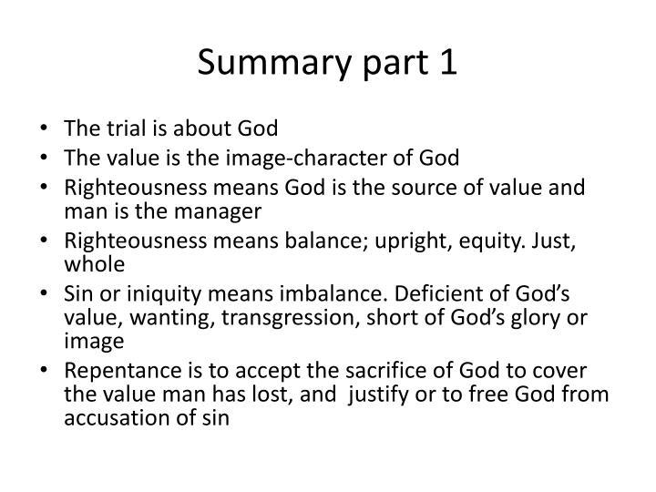 Summary part 1
