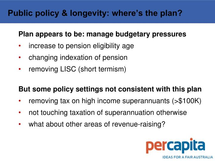 Public policy & longevity: where's the plan?