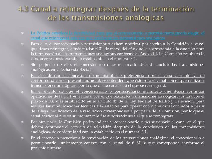 4.3 Canal a reintegrar después de la terminación de las transmisiones analógicas