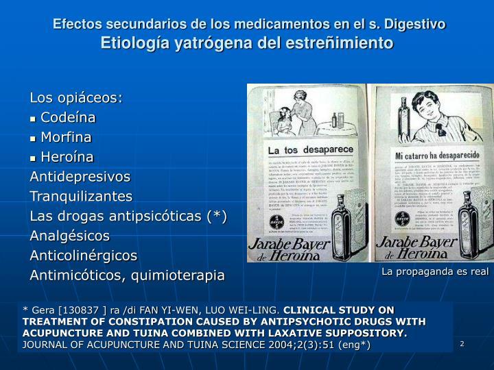 Efectos secundarios de los medicamentos en el s. Digestivo